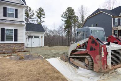 Travaux de construction d'allée de garage